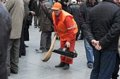 A Municipal street cleaner sweeping the streets, Georgia. - Philip Wolmuth - ,2010s,2011,Asia,asian,asians,brush,Caucasus,cities,city,cleaner,cleaners,cleaning,cleansing,dustpan,EARNINGS,Eastern Europe,employee,employees,Employment,environment,EQUALITY,eu,european,europeans,ge