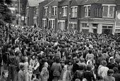 Mass picket of the Grunwick film processing plant in Neasden, West London, during a two-year strike called in protest at management refusal to recognise trade union representation of the largely femal... - Philip Wolmuth - 11-07-1977