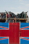 Car doors in a scrapyard and Union Jack in Hackney Wick. - Philip Wolmuth - 02-08-2011