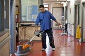 Polishing the floor. At Musgrave Park Hospital all cleaning and ancillary staff are directly employed by Belfast Health and Social Care Trust, following the expiry of a 15 year contract with Mediclean... - Philip Wolmuth - 2010s,2011,ancillary workers,by hand,care,cleaner cleaners,cleaning,cleansing,direct labour,EARNINGS,employee,employees,employment,EQUALITY,hea health,health,HEALTH SERVICES,healthcare,Hospital,HOSPIT