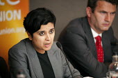 Shami Chakrabarti, Director of Liberty, with Mark Lewis, solicitor for the family of Milly Dowler, at a Unite the Union fringe meeting. TUC Congress 2011 London. - Philip Wolmuth - 12-09-2011