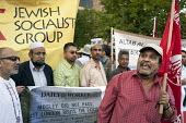 Ali Biswas, of the Asian Solidarity Conference, with the Jewish Socialist Group behind, speaking on the 75th anniversary of the 1936 Battle of Cable Street, when residents of Stepney successfully prev... - Philip Wolmuth - 02-10-2011