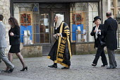 Judges arrive at Westminster Abbey for a service to mark the beginning of the legal year. - Philip Wolmuth - ,2010s,2011,clj,CLJ crime law justice,gown,gowns,judge,judges,justice,law,legal,London,male,man,men,people,person,persons,robes,service,SERVICES,Westminster,wig,wigs