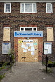 Cricklewood Library, one of six Brent libraries closed following a failed campaign by local residents. - Philip Wolmuth - 2010s,2011,Austerity Cuts,Boarded Up,cities,city,closed,closing,closure,closures,council,Council Services,Council Services,disused,edu,educate,educating,education,educational,government,knowledge,lear