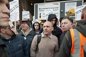 Electricians and supporters protest outside Blackfriars Station Redevelopment construction site to protest at plans by contractor Balfour Beatty to cut wages by 35 and leave the JIB national pay and c... - Philip Wolmuth - 19-10-2011