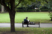 A man reading a book on a park bench in Lincoln's Inn Fields, London. - Philip Wolmuth - 27-09-2011