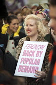 Don't Turn Back Time on Women's Equality, 1950s dress themed London protest by the Fawcett Society. - Philip Wolmuth - ,2010s,2011,activist,activists,bigotry,CAMPAIGN,campaigner,campaigners,CAMPAIGNING,CAMPAIGNS,DEMONSTRATING,demonstration,DEMONSTRATIONS,discrimination,dress,equal,equal rights,equality,FEMALE,feminism
