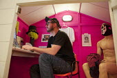 Mills, co-founder of ustwo, a mobile app developer based in Shoreditch, London, at work in his Wendy House office. The run-down commercial district also known as Silicon Roundabout, is undergoing gent... - Philip Wolmuth - 15-02-2012