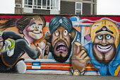 Mural by Andy Seize on Charles Square Estate, Shoreditch, London, a run-down commercial district also known as Silicon Roundabout, which is undergoing gentrification as it becomes a centre for web-bas... - Philip Wolmuth - 2010s,2012,ACE,art,Arts,artwork,artworks,BAME,BAMEs,Black,BME,bmes,Borough,cities,city,Culture,digital,diversity,economic,economy,EQUALITY,ethnic,ethnicity,gentrification,graphic,Hackney,Housing Estat