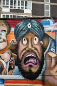 Mural by Andy Seize on Charles Square Estate, Shoreditch, London, a run-down commercial district also known as Silicon Roundabout, which is undergoing gentrification as it becomes a centre for web-bas... - Philip Wolmuth - 06-03-2012