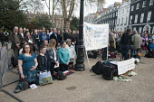 Supporters of anti-choice group 40 Days for Life hold a prayer meeting outside a British Pregnancy Advisory Service clinic in Bloomsbury, London, where they have been conducting a daily picket during... - Philip Wolmuth - 30-03-2012
