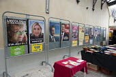 Posters for candidates in the French Presidential election displayed outside the Mairie (Town Hall) in St. Jean du Gard, France. The Green candidate, Eva Joly, Marine Le Pen, Front National (FN), Nico... - Philip Wolmuth - 10-04-2012