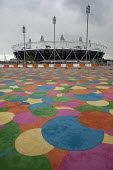 Multi-coloured parking area and the Olympic Stadium, London. - Philip Wolmuth - 19-04-2012