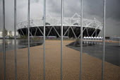 Security barrier on the approach to the Olympic Stadium, London. - Philip Wolmuth - 2010s,2012,ACE,architecture,arts,barrier,building,buildings,cities,city,culture,EBF,Economic,Economy,London 2012,Olympic,Park,Security,Security Fence,Stadium,urban