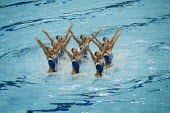 Japanese team, Olympic Games Synchronised Swimming Qualification event in the Aquatics Centre, designed by architect Zaha Hadid, Olympic Park, London. - Philip Wolmuth - 19-04-2012