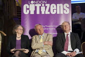 London Mayoral candidates Jenny Jones, Ken Livingstone and Boris Johnson. London Citizens Mayoral Accountability Assembly, Central Hall, Westminster. - Philip Wolmuth - 25-04-2012