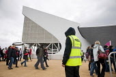 A security guard employed by private contractor Sword on duty outside the Aquatic Centre in the London 2012 Olympic Park. - Philip Wolmuth - 05-05-2012