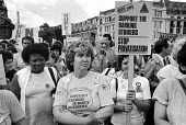 NUPE demonstration protesting at plans to privatise the domestic workers at Barking Hospital. - Philip Wolmuth - 26-06-1984