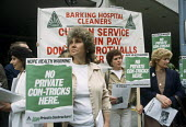 Workers from Barking Hospital picketing the AGM of private contractor Prichards over plans to privatise domestic services at the hospital. - Philip Wolmuth - 25-05-1984