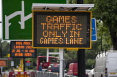 An illuminated road sign for a games lane at Marble Arch during the London 2012 Olympic Games. - Philip Wolmuth - 08-08-2012