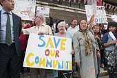Residents of West Kensington and Gibbs Green estates in West London demonstrate outside Hammersmith Town Hall against council plans to sell the estates to private developer Capco. - Philip Wolmuth - 2010s,2012,activist,activists,against,age,ageing population,anti-privatisation,CAMPAIGN,campaigner,campaigners,CAMPAIGNING,CAMPAIGNS,council,Council Housing,Council Housing,DEMONSTRATING,demonstration