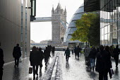 Commuters arrive for work at offices in the More London complex, close to Tower Bridge - Philip Wolmuth - 17-10-2012