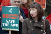 Frances O'Grady, TUC gen sec and Farm workers protest outside Parliament at government plans to scrap the Agricultural Wages Board, which protects 154,000 rural workers' pay, terms and conditions - Philip Wolmuth - 12-11-2012