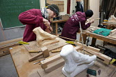 Wood-carving workshop at the Centro Albayzin (the Andalucian School of Restoration), which is funded by the European Social Fund, the City of Granada and the province of Andalucia to provide training... - Philip Wolmuth - 25-01-2013