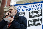 Sir Steve Bullock, Mayor of Lewisham. Health workers, patients, locals and trade unions, Save Lewisham Hospital Campaign rally outside the hospital to protest at proposed closure of A&E and maternity... - Philip Wolmuth - 2010s,2013,activist,activists,against,austerity cuts,Bullock,CAMPAIGN,campaign campaigning,campaigner,campaigners,CAMPAIGNING,CAMPAIGNS,CLOSED,closing,closure,closures,council,DEMONSTRATING,demonstrat