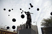 Black balloons released to commemorate each of those killed in workplace accidents. International Workers Memorial Day rally to commemorate those killed in accidents at work. Tower Hill, London. - Philip Wolmuth - 28-04-2013