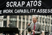 Michael Meacher MP. 10,000 Cuts and Counting memorial service in Parliament Square, London, to commemorate those who have died shortly after undergoing a Work Capability Assessment by government contr... - Philip Wolmuth - 28-09-2013