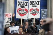 Community leader Stafford Scott, Carole Duggan, Rupert Sylvester, Stephanie Lightfoot-Bennett. No Justice, No Peace vigil outside Tottenham Police Station in support of the family of Mark Duggan, whos... - Philip Wolmuth - 11-01-2014