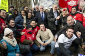 Labour MPs John McDonnell, Jeremy Corbyn, 3 Cosas Campaign strike rally outside Parliament during an open-top bus tour by outsourced cleaning, security and maintenance workers employed by Cofely GDF-S... - Philip Wolmuth - 28-01-2014