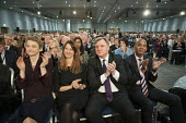 Yvette Cooper MP, Ed Balls MP, Chuka Umunna MP. Labour Party Special Conference on reform of its link to trade unions, ExCel Centre, London. - Philip Wolmuth - 2010s,2014,applauding,applause,Balls,Collins,Conference,conferences,FEMALE,member,member members,members,Party,people,person,persons,POL,political,POLITICIAN,politicians,politics,reform,REFORMING,refo