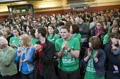 One minute standing ovation in memory of Bob Crow and Tony Benn, Central Hall, Westminster. Teachers one-day national strike called by the NUT over pay structures, pensions and working hours. - Philip Wolmuth - 26-03-2014