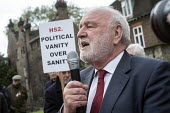 Frank Dobson MP. Stop HS2 demonstration outside Parliament on the day of the second reading of the HS2 Hybrid Bill. - Philip Wolmuth - 2010s,2014,activist,activists,against,anti,Borough,Camden,campaign,campaigner,campaigners,campaigning,CAMPAIGNS,DEMONSTRATING,demonstration,DEMONSTRATIONS,development,high,HS2,Labour Party,London,of,o