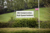 HS2 Compensation = High Speed Robbery. Roadside banner near Great Missenden, Buckinghamshire, close to the proposed route of the HS2 high speed rail line. - Philip Wolmuth - 23-04-2014