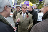 Nigel Farage, MEP. UKIP lobby of Parliament against the handover of legal powers, including the European Arrest Warrant, to the EU. Old Palace Yard, Westminster, London. - Philip Wolmuth - 10-11-2014