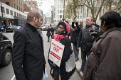 Protest at proposed rent rises by residents and supporters outside the Mayfair offices of US property company Westbrook Partners, which recently bought their homes on the New Era Estate in Hoxton, Lon... - Philip Wolmuth - 01-12-2014