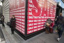 Spanish fashion chain Bershka store, January sales, Oxford Street London. - Philip Wolmuth - 02-01-2015