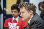 Tristram Hunt MP visiting Little Ilford School in Newham, London, to discuss the schools work with Stonewall on its campaign against homophobic bullying. - Philip Wolmuth - 2010s,2015,against,anti gay,antigay,campaign,campaigning,CAMPAIGNS,communicating,communication,conversation,conversations,democracy,dialogue,discourse,discuss,discusses,discussing,discussion,election,