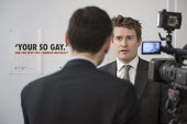 A Press Association journalist at work. Tristram Hunt MP visiting Little Ilford School in Newham, London, to discuss the schools work with Stonewall on its campaign against homophobic bullying. - Philip Wolmuth - 03-02-2015