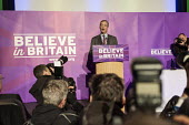Nigel Farage addressing press and supporters at the UKIP launch of its General Election campaign in the Movie Starr cinema, Canvey Island, South Essex. - Philip Wolmuth - 2010s,2015,camera,cameras,campaign,campaigning,CAMPAIGNS,cinema,conference,conferences,DEMOCRACY,Election,elections,eurosceptic,Euroscepticism,eurosceptics,General Election,launch,media,photographer,p