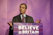 Nigel Farage addressing press and supporters at the UKIP launch of its General Election campaign in the Movie Starr cinema, Canvey Island, South Essex. - Philip Wolmuth - ,2010s,2015,campaign,campaigning,CAMPAIGNS,cinema,conference,conferences,DEMOCRACY,Election,elections,eurosceptic,Euroscepticism,eurosceptics,General Election,launch,POL,political,POLITICIAN,politicia