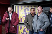 Local UKIP supporters outside the Movie Starr cinema, Canvey Island, South Essex, following the launch of the party's General Election campaign. - Philip Wolmuth - ,(BP),2010s,2015,£B,Bristol Pound,campaign,campaigning,CAMPAIGNS,cinema,DEMOCRACY,Election,elections,Essex,eurosceptic,Euroscepticism,eurosceptics,General Election,launch,Local,male,man,masculinity,m