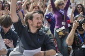 Podemos secretary general Pablo Iglesias at a rally in Malaga a week before Andalusian parliamentary elections in which the grassroots party is hoping to make significant gains. - Philip Wolmuth - 2010s,2015,Andalusia,applauding,applause,campaign,campaigning,CAMPAIGNS,candidate,candidates,democracy,Election,elections,EMOTION,EMOTIONAL,EMOTIONS,enthusiasm,enthusiastic,eu,european,europeans,euroz