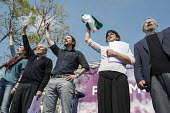 Podemos secretary general Pablo Iglesias, presidential candidate Teresa Rodriguez and local candidates Carlos Villarejo and Felix Gil at a rally in Malaga a week before Andalusian parliamentary electi... - Philip Wolmuth - 14-03-2015
