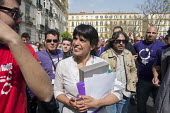 Podemos presidential candidate Teresa Rodriguez at a rally in Malaga a week before Andalusian parliamentary elections in which the grassroots party is hoping to make significant gains. - Philip Wolmuth - 2010s,2015,Andalusia,campaign,campaigning,CAMPAIGNS,candidate,candidates,democracy,Election,elections,eu,european,europeans,eurozone,FEMALE,party,people,person,persons,Podemos Party,POL,political,POLI