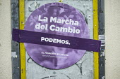 Change Begins in Andalucia. Podemos poster, Seville, Spain. The grassroots party is expected to make major gains in the first in a forthcoming round of regional elections. - Philip Wolmuth - 13-03-2015