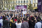 Podemos secretary general Pablo Iglesias, presidential candidate Teresa Rodriguez and local candidate Felix Gil at a rally in Malaga a week before Andalusian parliamentary elections in which the grass... - Philip Wolmuth - 14-03-2015